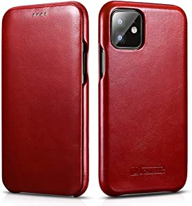 ICARER iPhone 11 Case,Vintage Series Ultra Slim Genuine Leather Flip Folio Case Side Open Cover Curve Edge Protection for Apple iPhone 11 6.1 inch 2019 (Red)