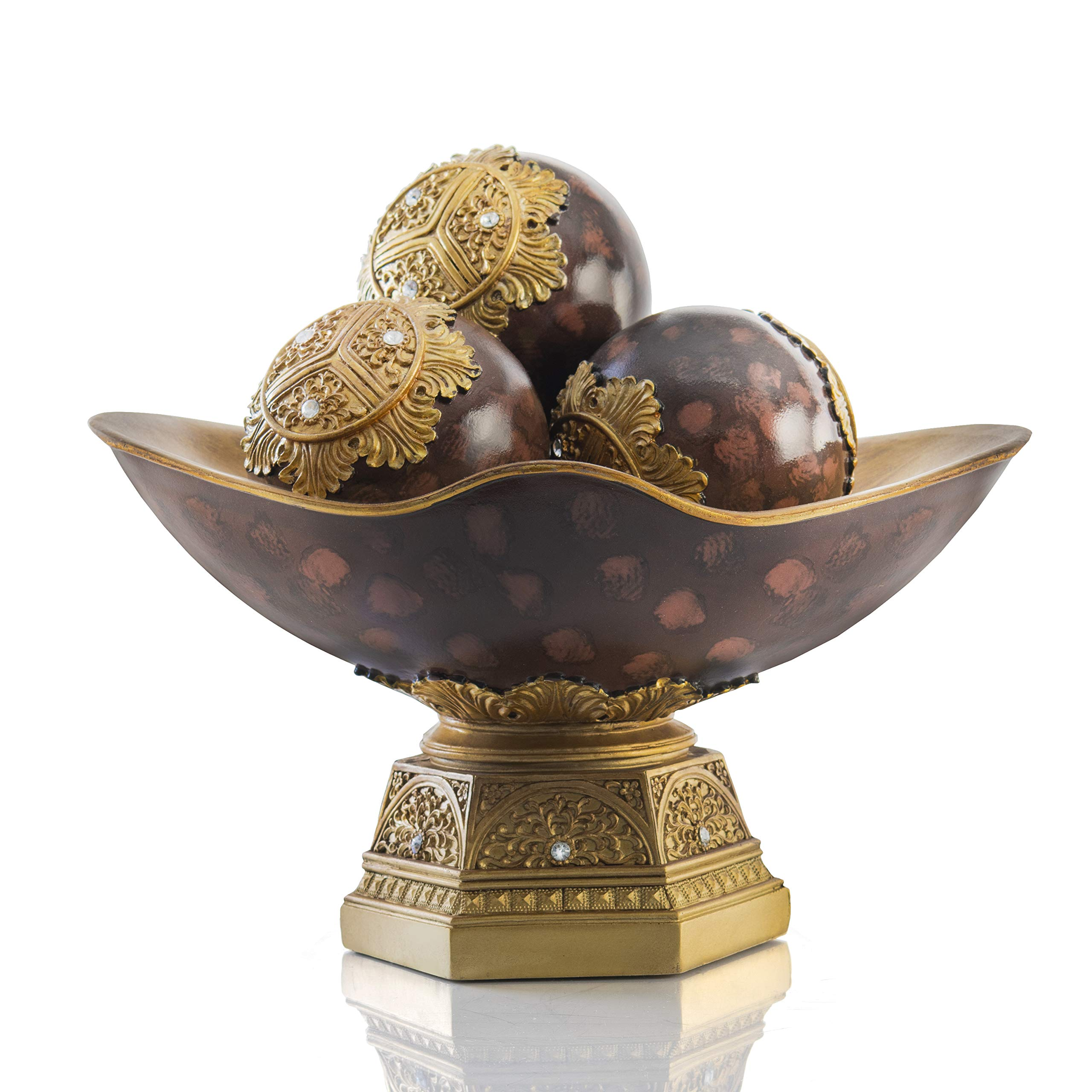 Emenest Decorative Table Centerpiece | Home Decor Bowl and Orbs Set of 4 | Prime Gifting Idea | Mantle with Spheres| House Decorations Accents for Dining or Living Room |Gift Boxed – Cherry Brown Gold