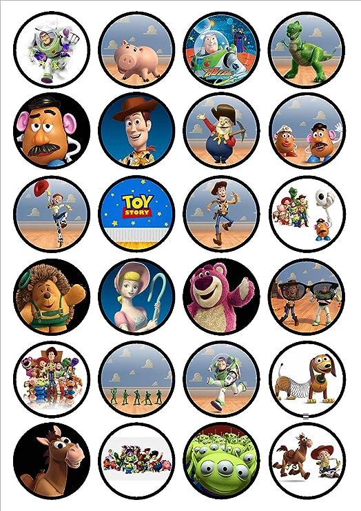 Toy Story oblea de papel de arroz comestible, de calidad, finos, endulzados, vainilla, cupcake, cobertura / decoraciones de Cians Cupcake Toppers.