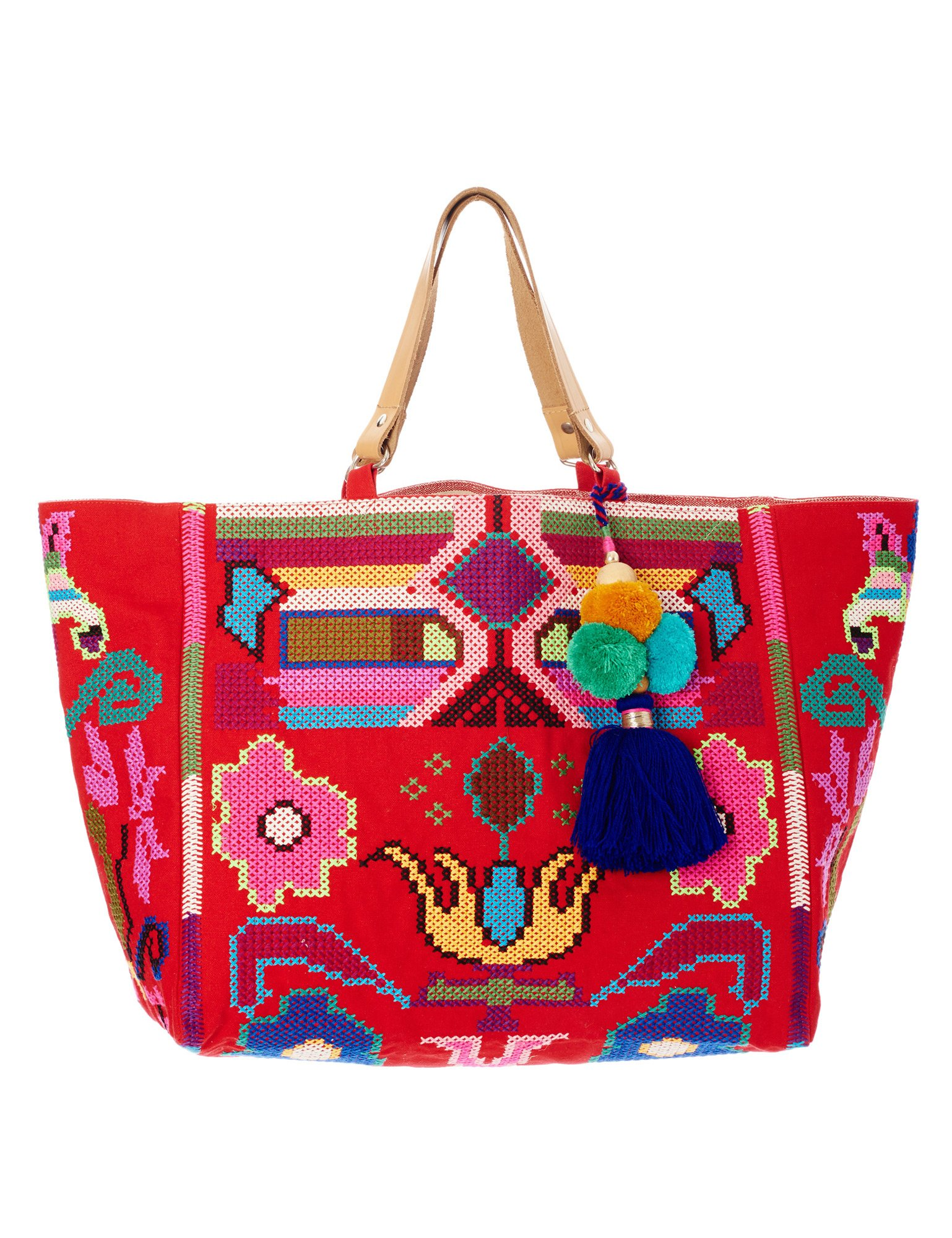 Star Mela Women's Vita Women's Red Tote Beach Bag 100% Cotton