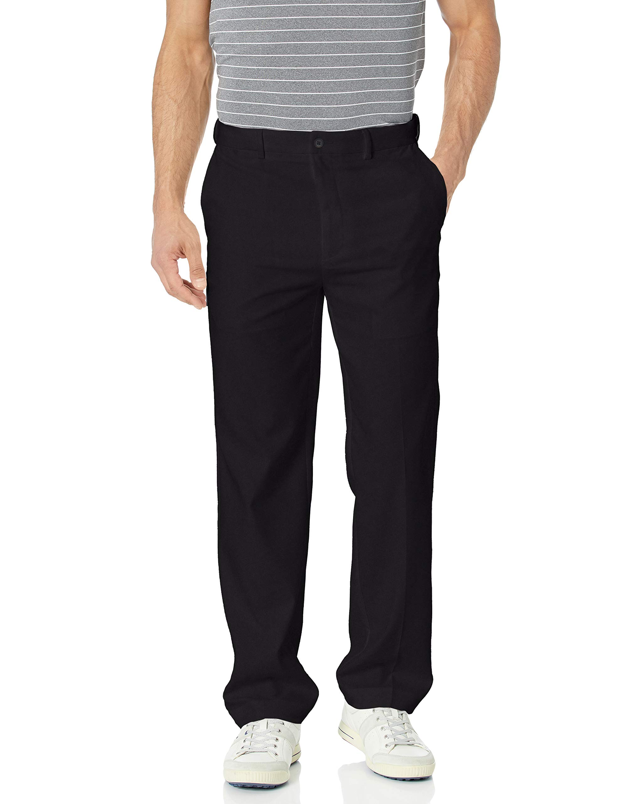 PGA TOUR Men's Flat Front Golf Pant with Expandable Waistband, Caviar, 32W x 30L by PGA TOUR