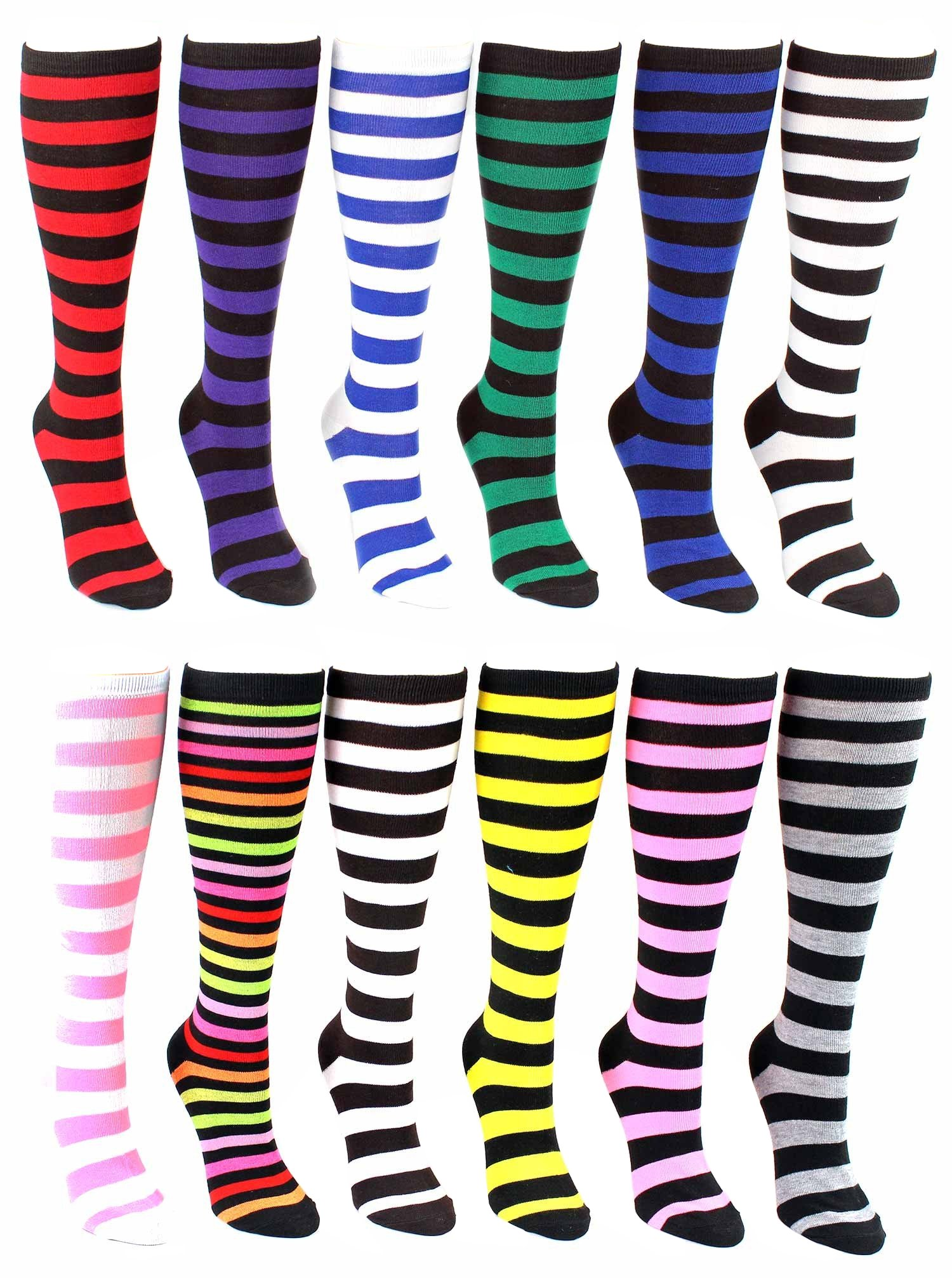 12 Pairs of Womens Knee High Socks, Premium Soft, Colorful Patterned Ladies Chic Styles (Assorted Colorful Stripes)