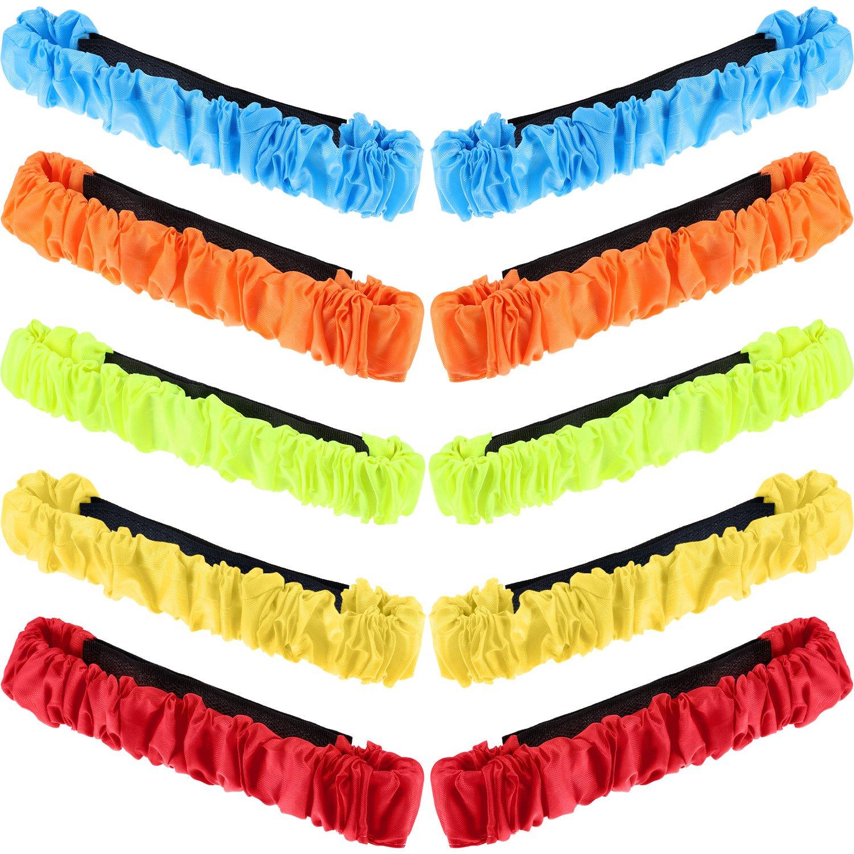 10 Stück 5 Verschiedene Farben 3 Legged Renn Band Elastische Krawatte Seil für Staffellauf Spiel, Karneval, Field Day, Hinterhof, Familientreffen Jovitec
