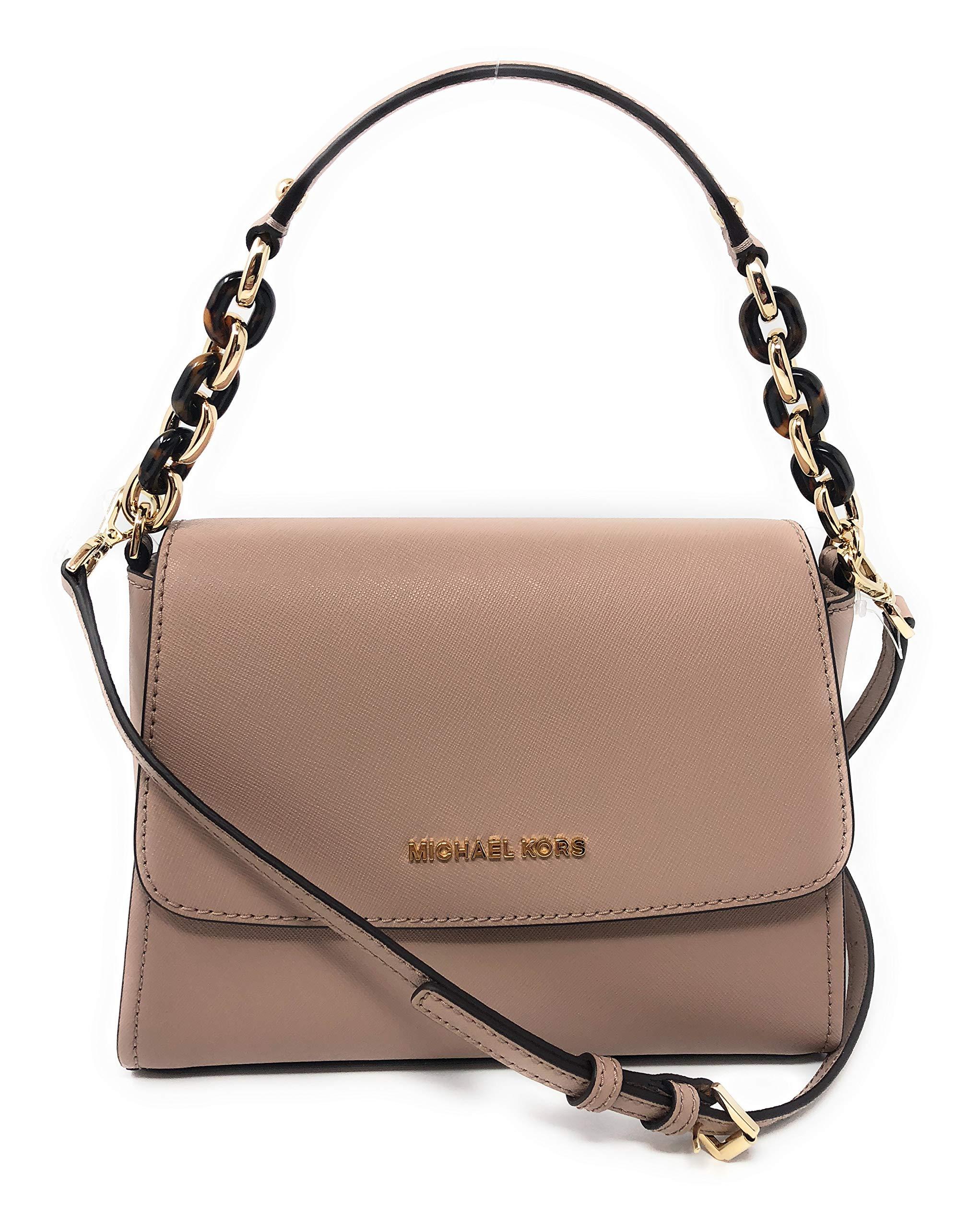 Michael Kors Sofia Small East West Saffiano Leather Satchel Crossbody Bag (Fawn)