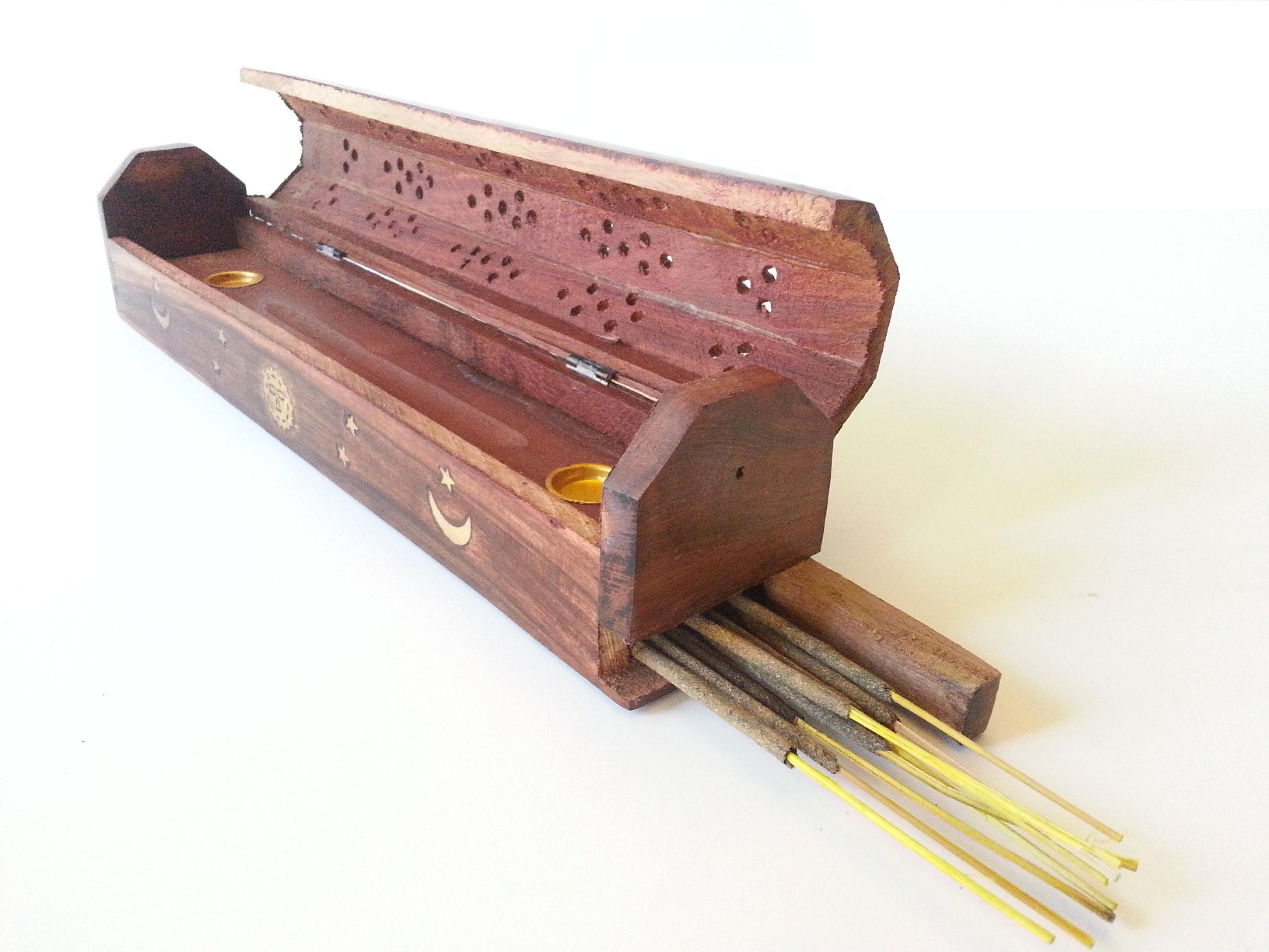 Coffin Box Sun, Moon & Stars Incense Burner for Sticks & Cones, Wood, 12'' Hand Carved From India.