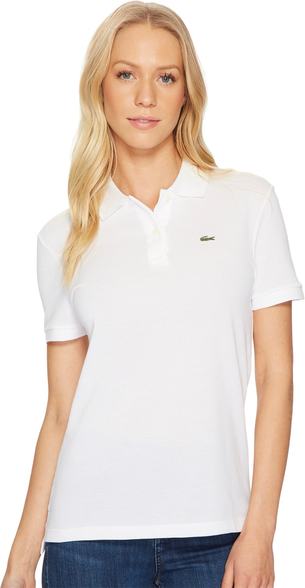 Lacoste Women's Classic Fit Short Sleeve Soft Cotton Petit Piqué Polo, White, 6