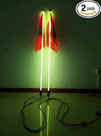 Red Color 5 feet Led light bulb whip with American flag Quick Release