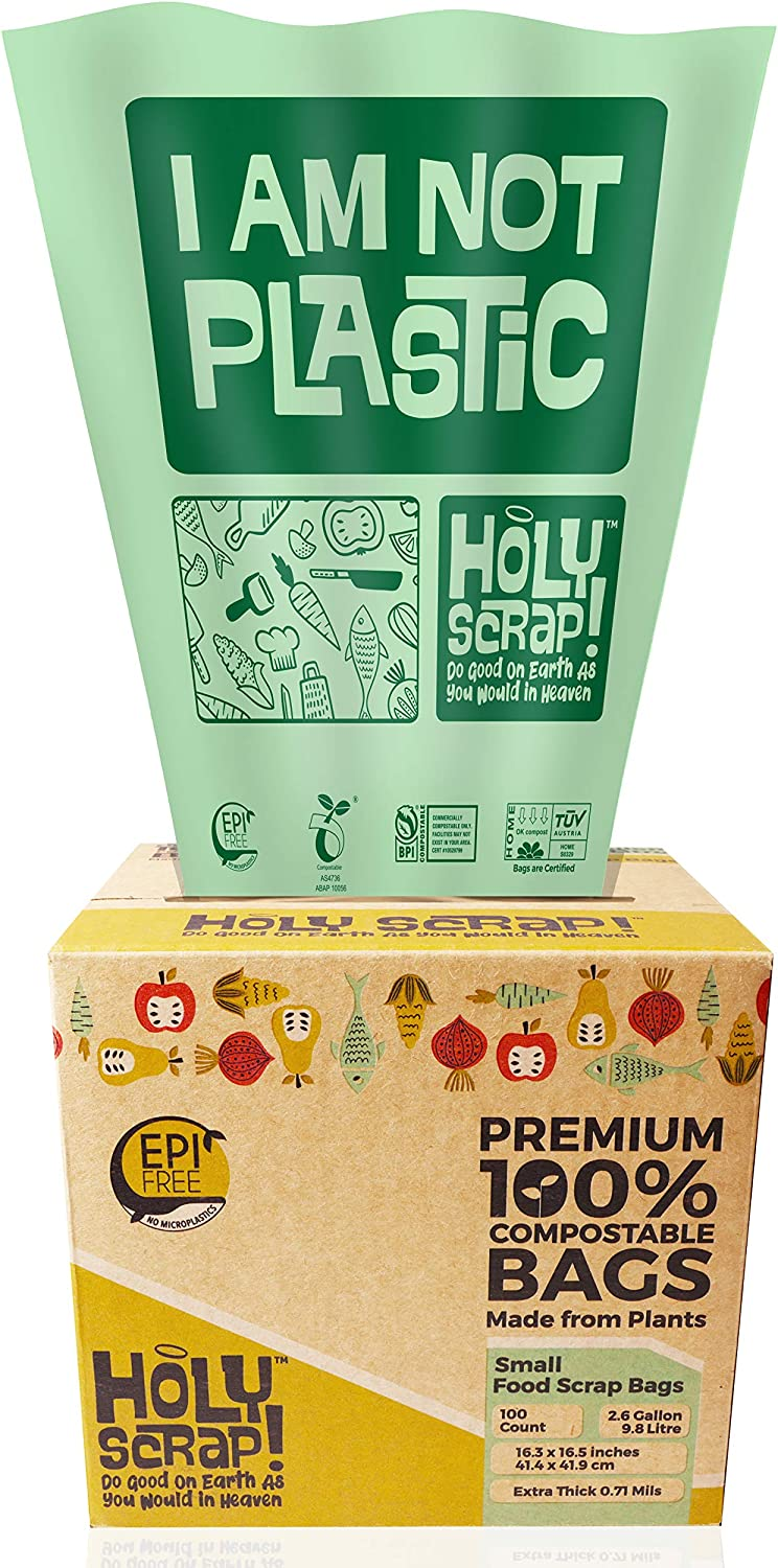 HOLY SCRAP! 100% Compostable Trash Bags, 2.6 Gallon, 9.84L, 200 Count, Extra Thick 0.71 Mils, Food Scrap Small Kitchen Bin Liners, US BPI and Europe OK Compost Home Certified. Highest ASTM D6400