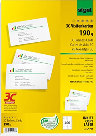 Sigel DP830 Visitenkarten hochwei/ß 15 Blatt 185 g weitere St/ückzahlen 150 St/ück 85x55 mm