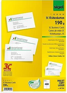 Sigel LP791 Visitenkarten 3C 400 Stuck 40 Blatt Hochweiss Glatter Schnitt