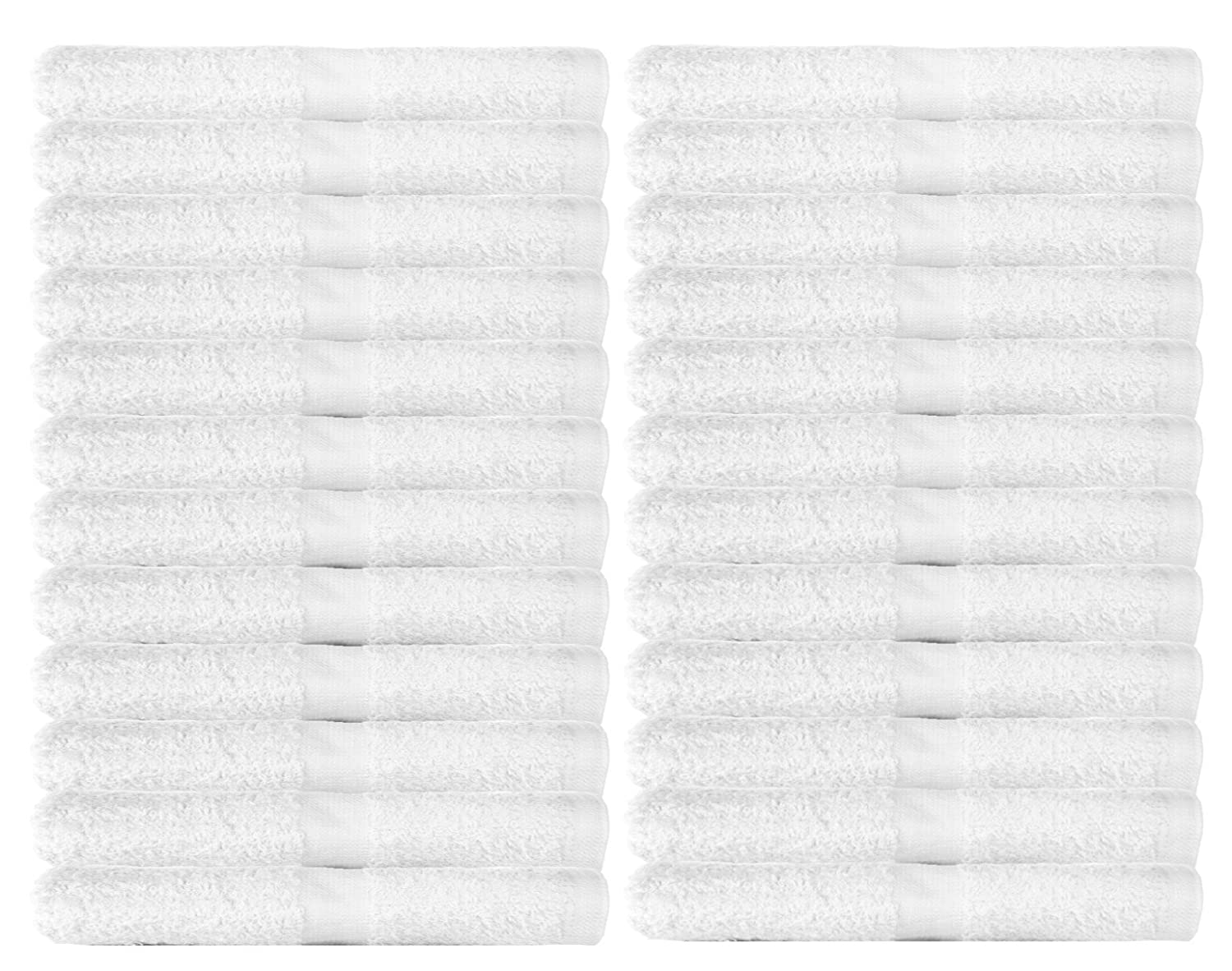 WhiteBasics Cotton Washcloths for Bathroom-KitchenCleaning-Hotel-Gym - Super Soft Absorbent Towels- 24 Pack - White - 12x12 Inch