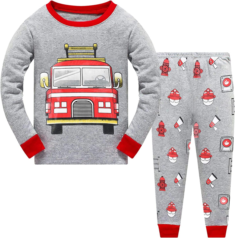 Little Hand Toddler Boys Pajamas Dinosaur 100/% Cotton Truck Sleepwear Pjs Sets Long Sleeve Excavator Jammies