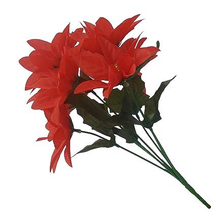 3 X Xmas Artificial Silk Flower Poinsettia Christmas Bunch Bush