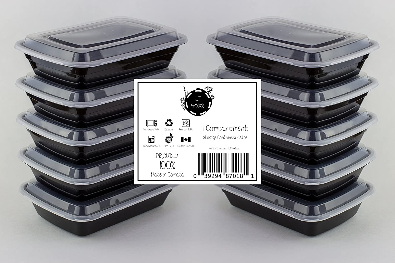 LT Goods 1 Compartment Stackable Meal Prep Food Storage Containers - 32oz, 10 pack - 100% Made in Canada