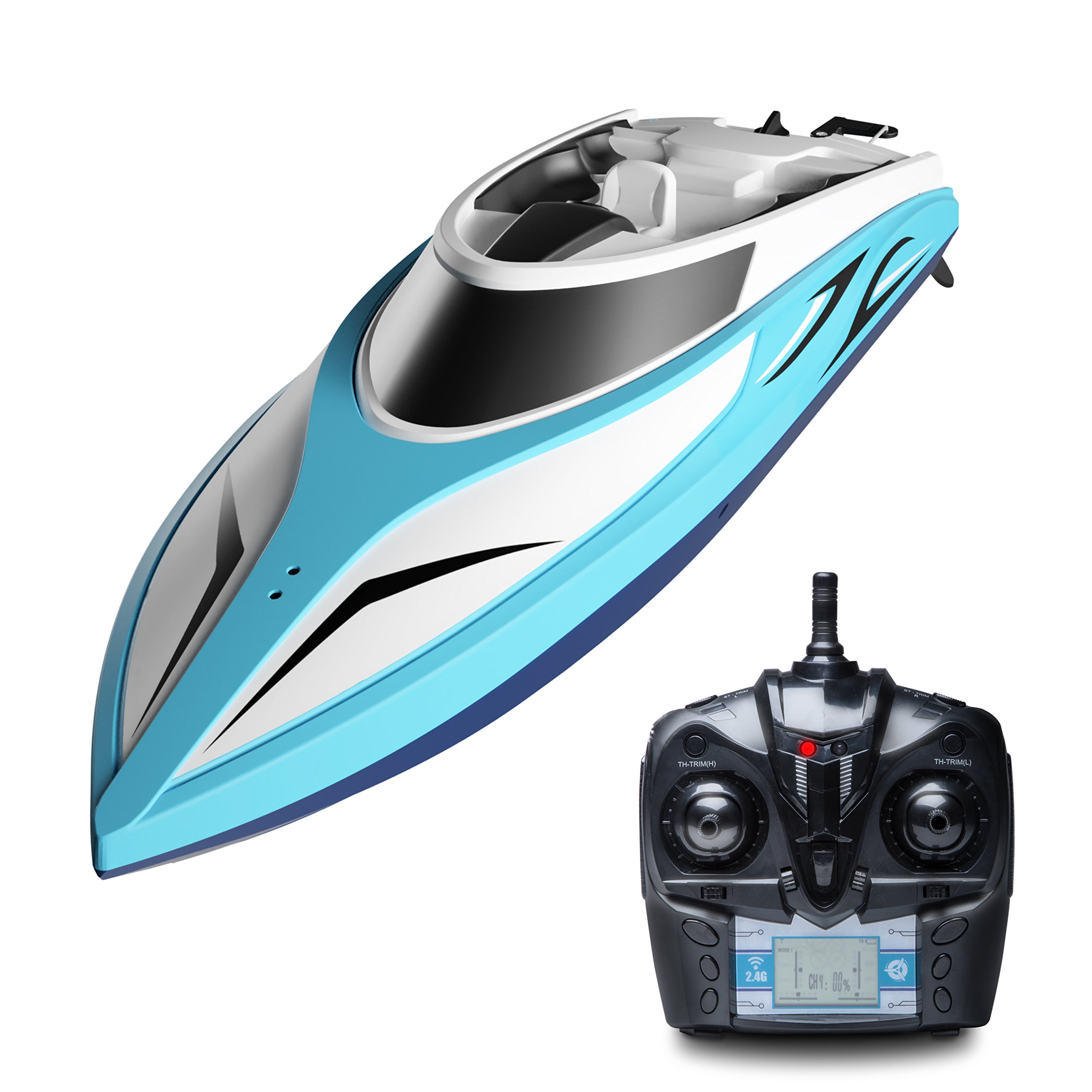 """Force1 RC Boat Pool Toys - """"H102 Velocity"""" High Speed Remote Control Boat and Rechargeable Battery + Toy Boat Capsize Recovery for Fast RC Boat Racing"""