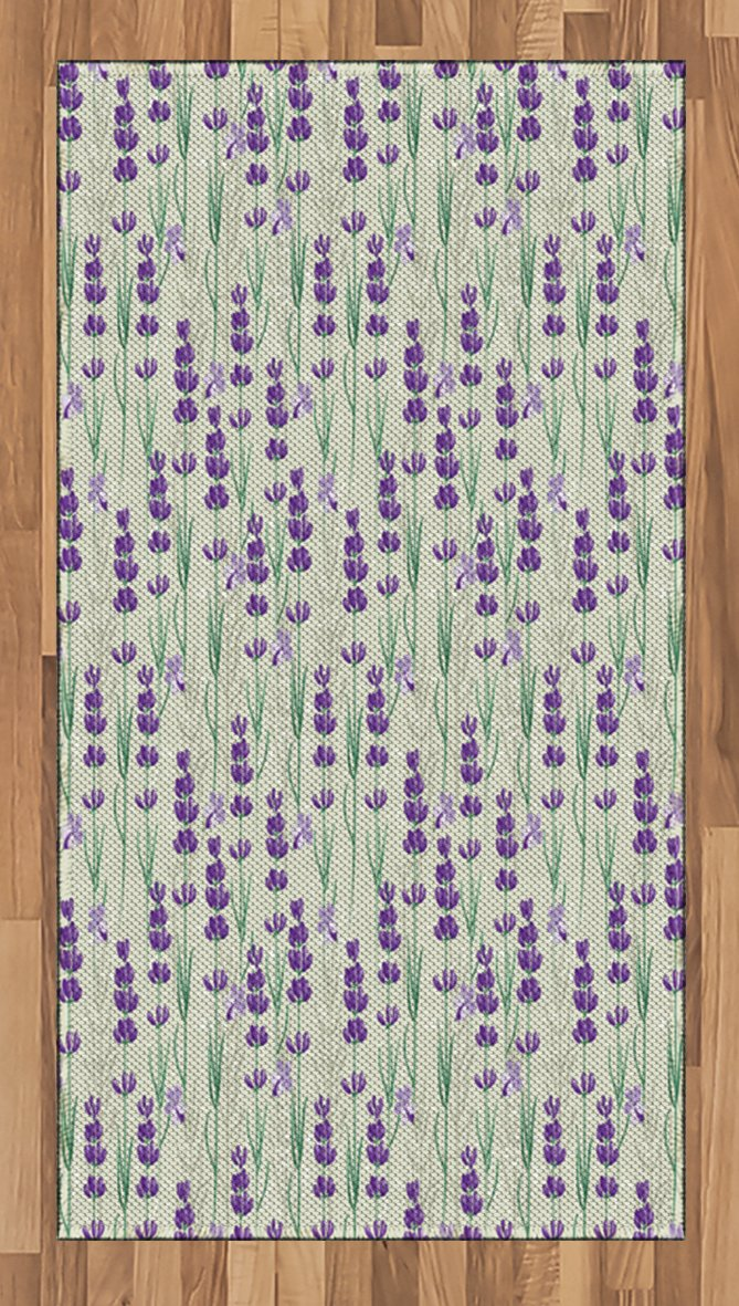 Ambesonne Lavender Area Rug, Botanical Pattern with Fresh Herbs Aromatherapy Spa Theme, Flat Woven Accent Rug for Living Room Bedroom Dining Room, 2.6 x 5 FT, Pale Sage Green Violet and Green