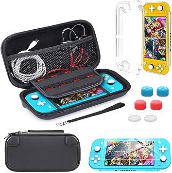 HEYSTOP Funda para Nintendo Switch Lite, 9 in1 Accesorios Nintendo Switch Lite, con Carcasa Transparente, Estuche de Transporte, Protector de Pantalla y 6 Apretones de Pulgar: Amazon.es: Electrónica