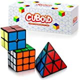 Cuboid Speed Cube Set of 3: 2x2, 3x3 & Pyramid Puzzle Cube | Adjustable Tension for Quick Turn and Smooth Play | Vivid Magic Cubes | Fidget Puzzle Cubes Classic IQ Games Toys for Kids & Adults