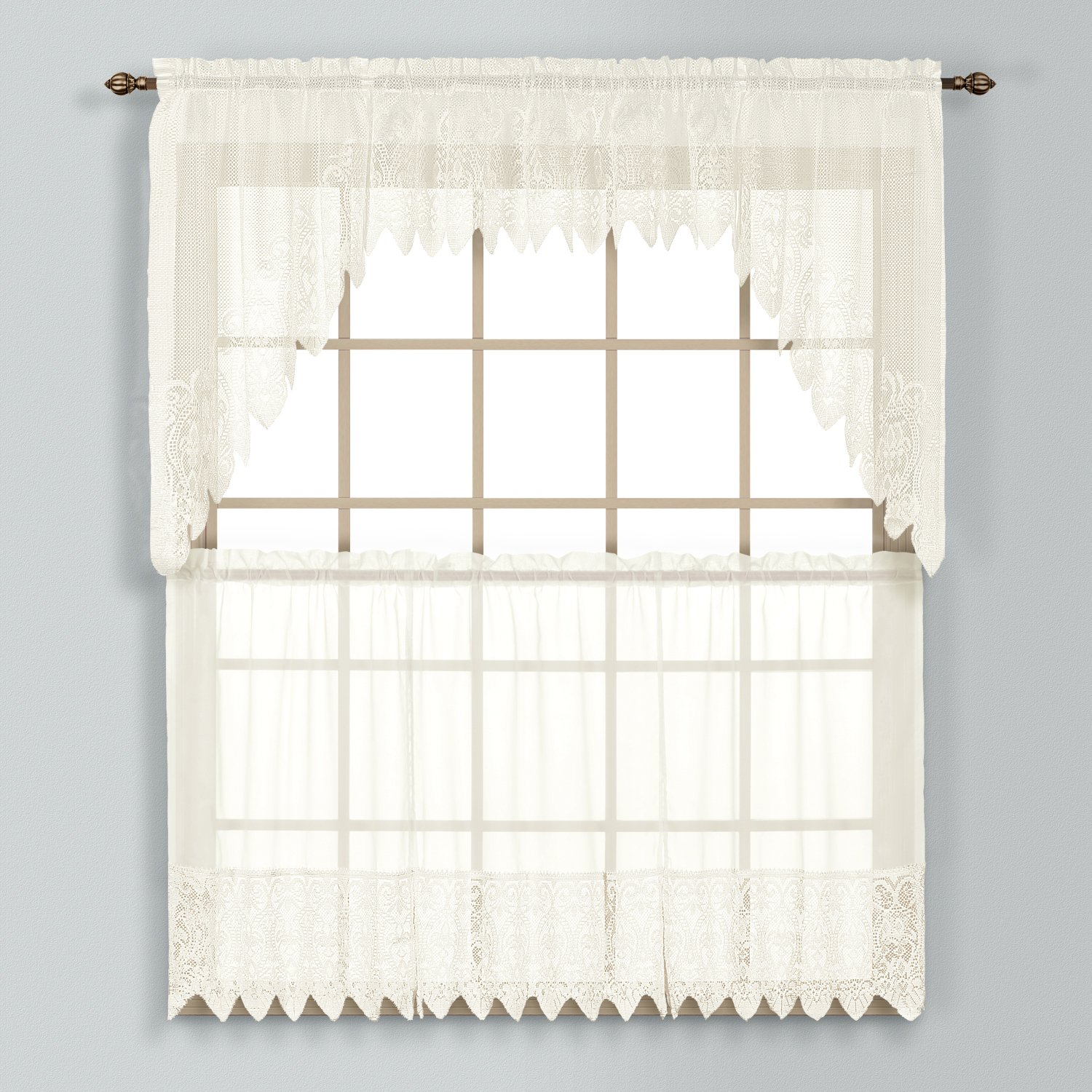 Amazon United Curtain Valerie Lace Sheer Kitchen Tiers 52 by