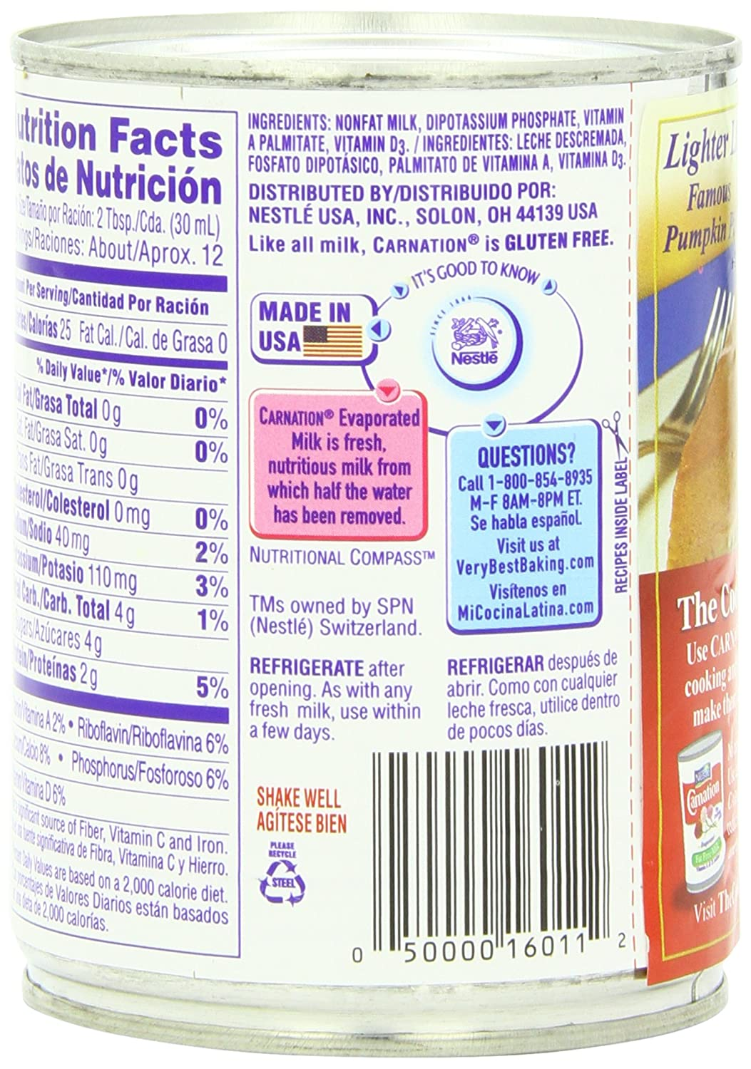 Carnation Evaporated Milk Nutrition Facts | www.pixshark ...