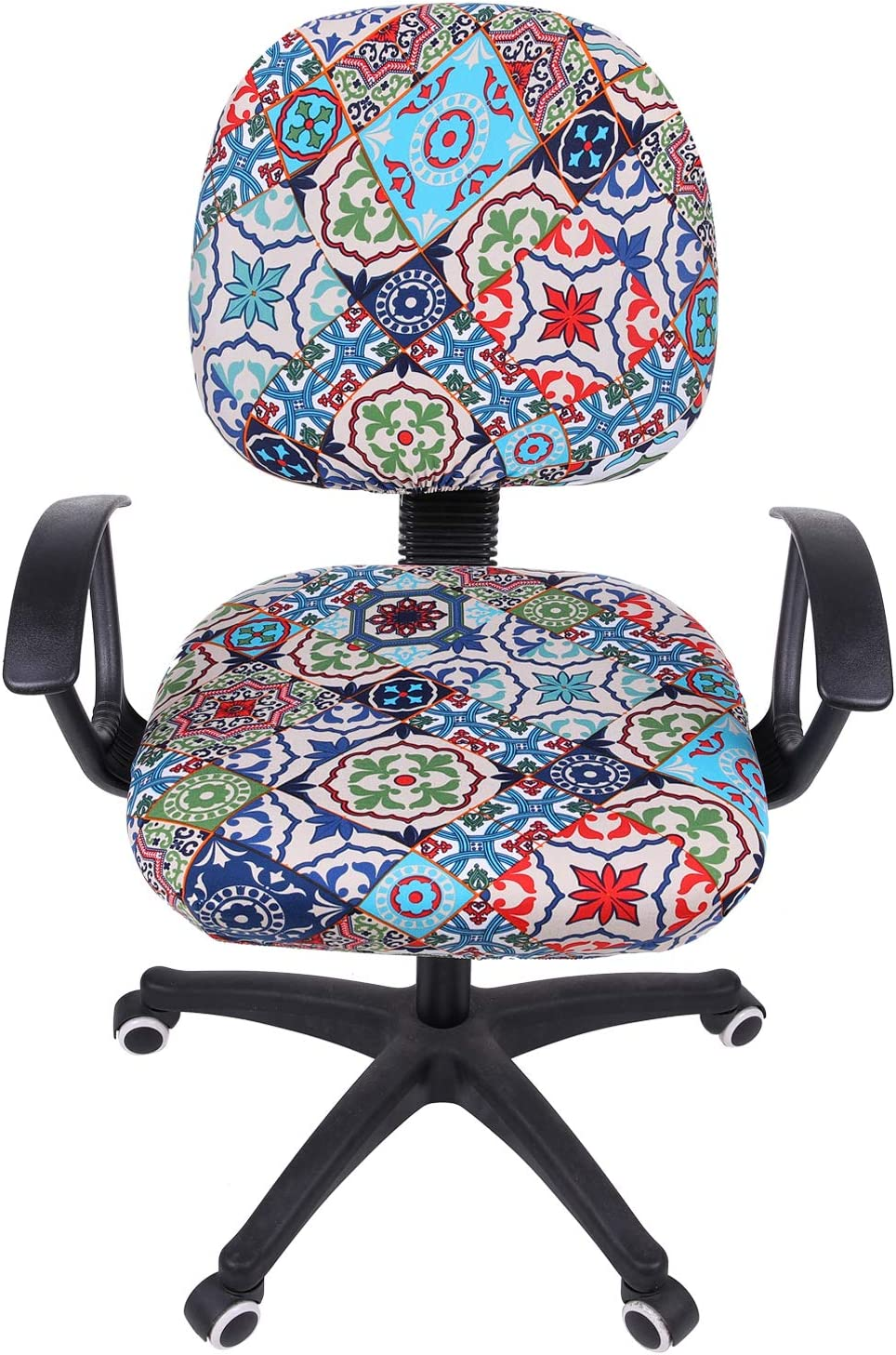 smiry Stretch Print Computer Office Chair Cover, Removable Washable Universal Desk Rotating Chair Slipcover, Colorful Vintage