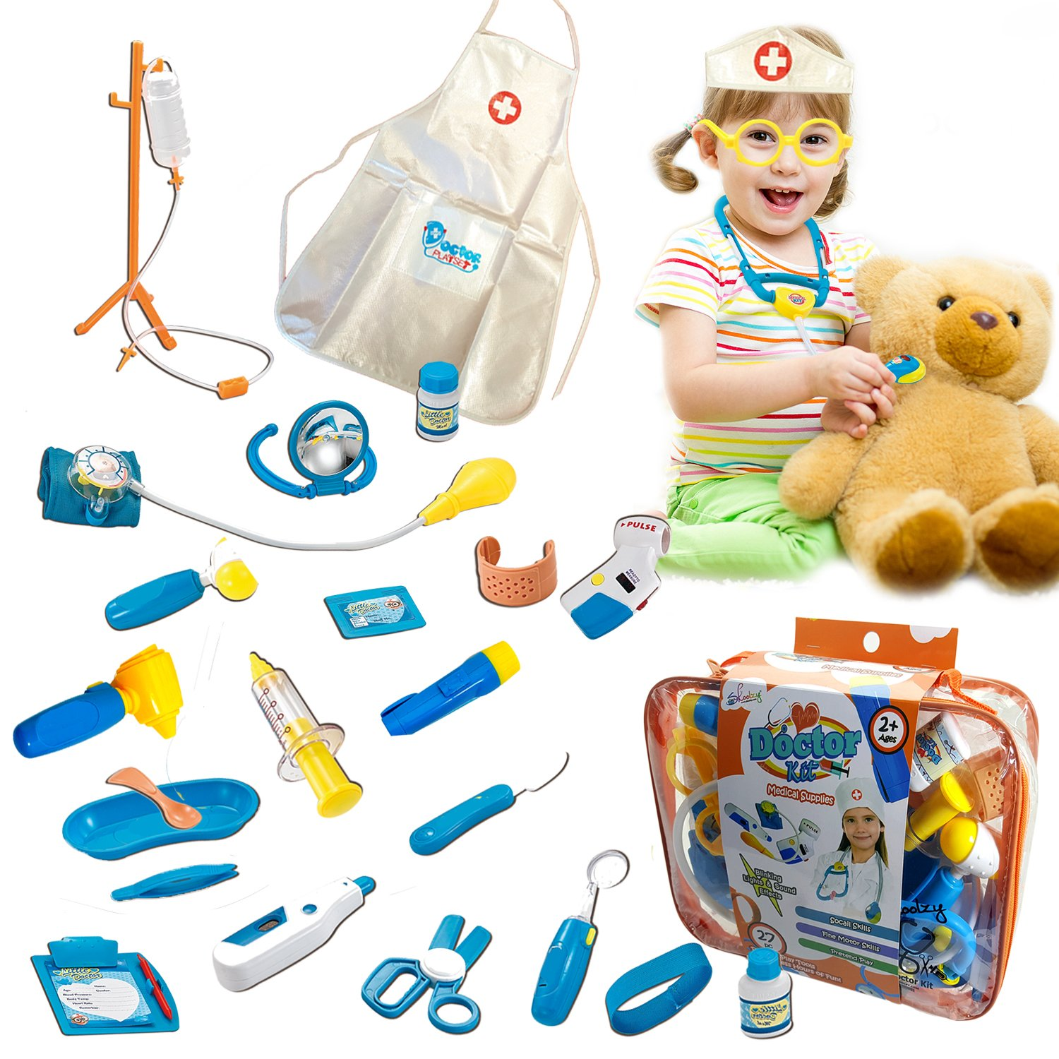 Toy Doctor Kit for Kids - Skoolzy Hospital Pretend Play Set - Toddler Toys for 3 4 5 Year Old Boys and Girls - Montessori Dramatic Play Dr Dress Up Games Sounds & Lights Stethoscope by Skoolzy