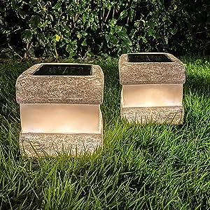 2 Pack Solar Garden Rock Lights Outdoor - Solar Powered Landscape Rock Lantern Lights Waterproof with Warm LED Lights for Garden Pathway Walkway Decor…