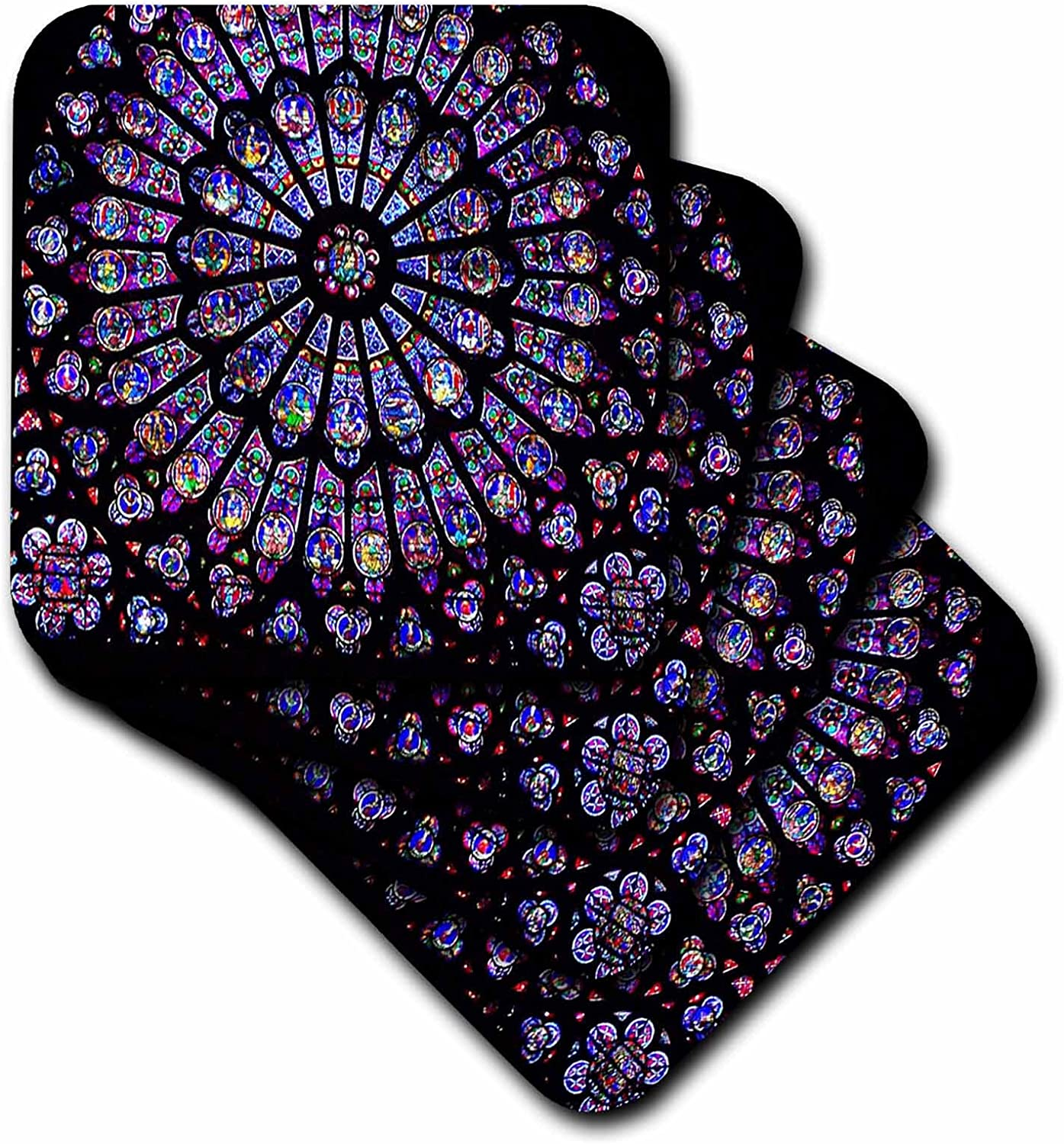 3dRose CST_50227_1 Notre Dame Cathedral Stained Glass Soft Coasters, Set of 4