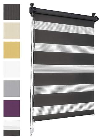 Doppelrollo Klemmfix ohne Bohren 70cm x 150cm Schwarz Duo Rollo Klemmrollo Sonnenschutzrollo Fensterrollo für Fenster & Türen