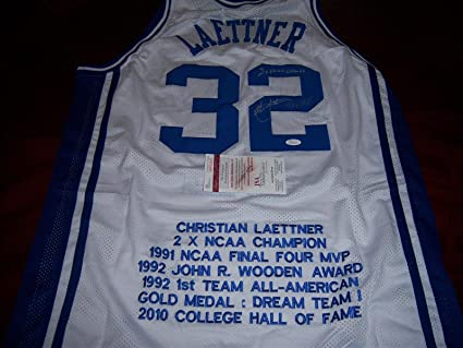 9288ef9719ba Autographed Christian Laettner Jersey - Bluedevils The Shot ncaa Champs X2  coa - JSA Certified -