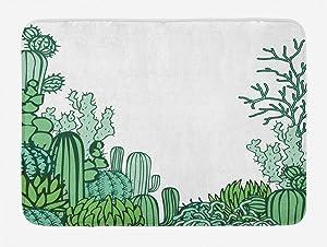 "Ambesonne Cactus Bath Mat, Arizona Desert Themed Doodle Cactus Staghorn Buckhorn Ocotillo Plants, Plush Bathroom Decor Mat with Non Slip Backing, 29.5"" X 17.5"", Light Green"