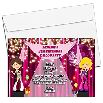 10 Personalised Girls Disco Dance Birthday Party Invitations Invites N76 3rd 5th 8th 10th ANY AGE