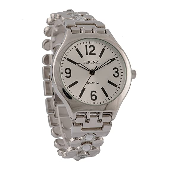 a5476f5a768b Amazon.com  Women s Watches by Ferenzi - Classic Silver Rhinestones ...