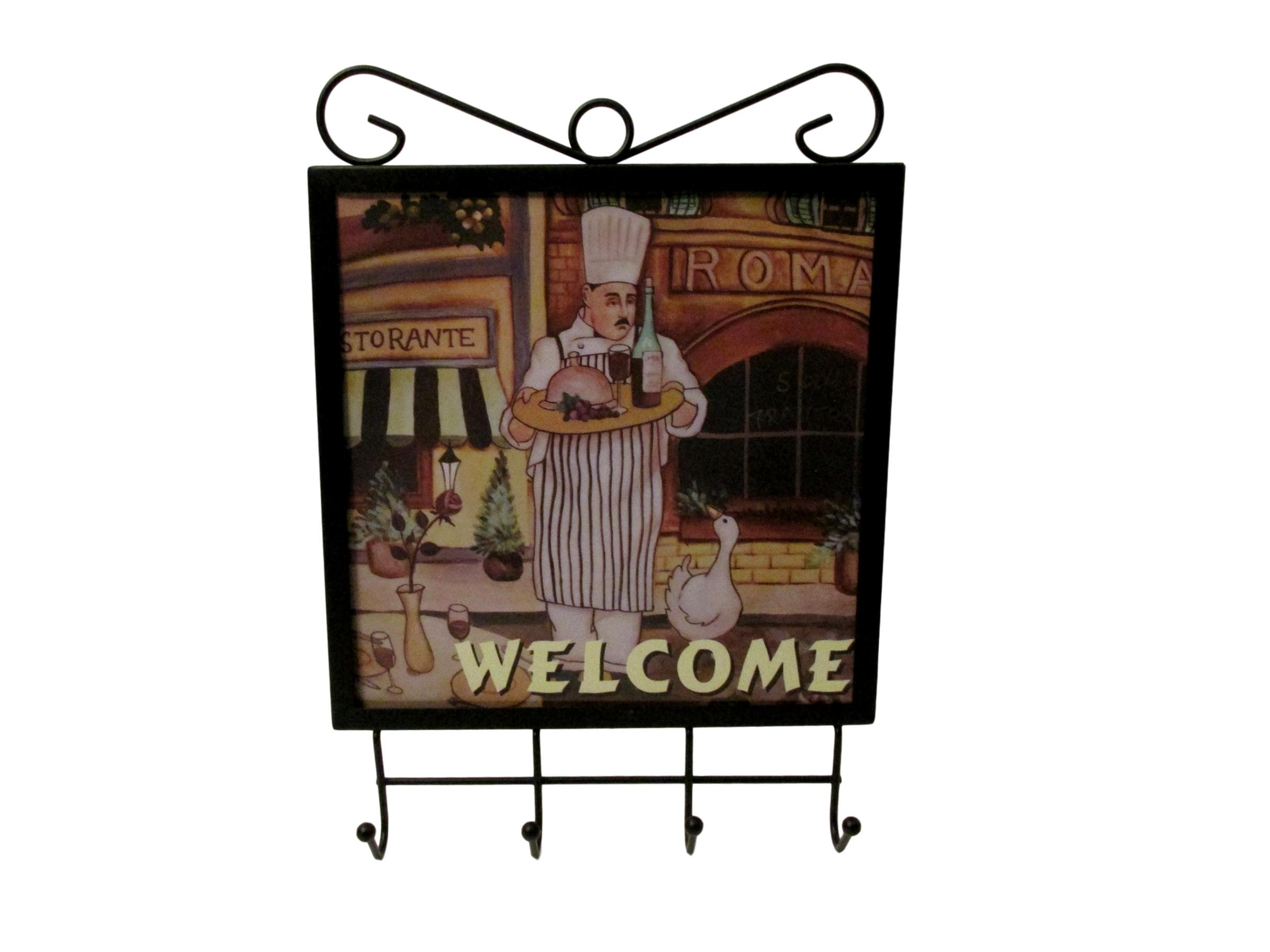 Bonita Home Sophia Essentials Fat Chef Culinary Wall Hook For Towels, Keys, Aprons, Utensils (Wine)