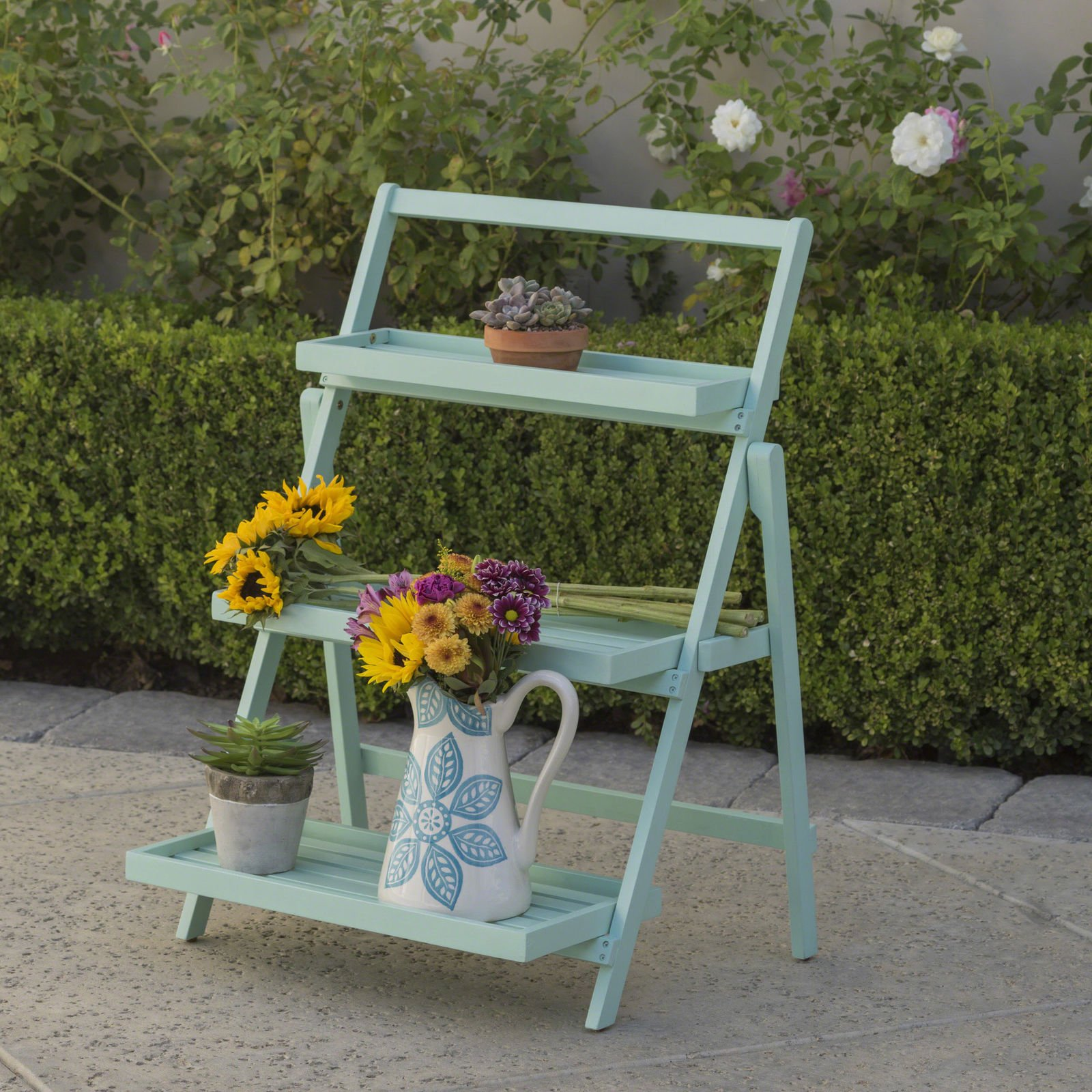 Charlton Home 35'' Goreville Modern Outdoor Multi-Tiered Plant Stand (Light Mint) by Charlton Home