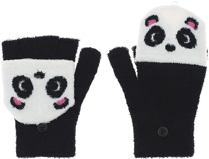 8f6bdffcb7fc0 Capelli New York Ladies Silly Panda Flip Top Magic Glove With Button  Closure Black Combo One