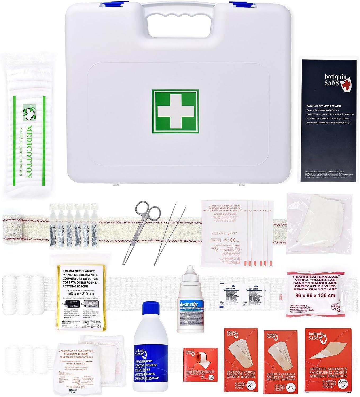 Botiquín Maletín Primeros Auxilios con 80 artículos (AGUA OXIGENADA, CLORHEXIDINA, SUERO FISIOLÓGICO, MANTA DE EMERGENCIA, VENDA TRIANGULAR,…): Amazon.es: Salud y cuidado personal