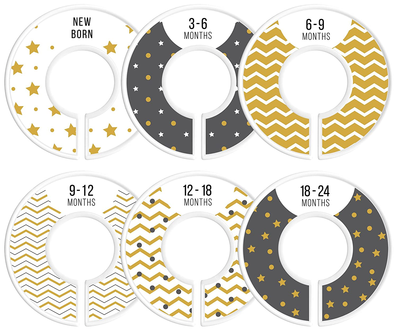Baby Closet Size Dividers, Yellow, Gold, Set of 6 Organizers, Star, Chevron