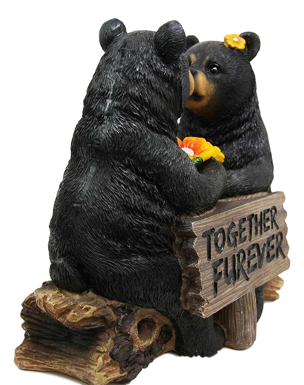 Ebros Romantic Black Bear Couple Kissing By Wooden Log Statue 7 Tall Whimsical Black Bear Family