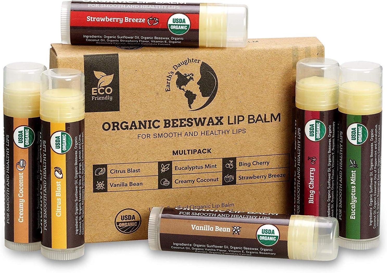 Earths Daughter USDA Organic Lip Balm 6-Pack por - sabores de frutas, cera de abejas, aceite de coco, vitamina E - Mejor Chapstick Lip reparación para los labios secos y agrietados.: Amazon.es:
