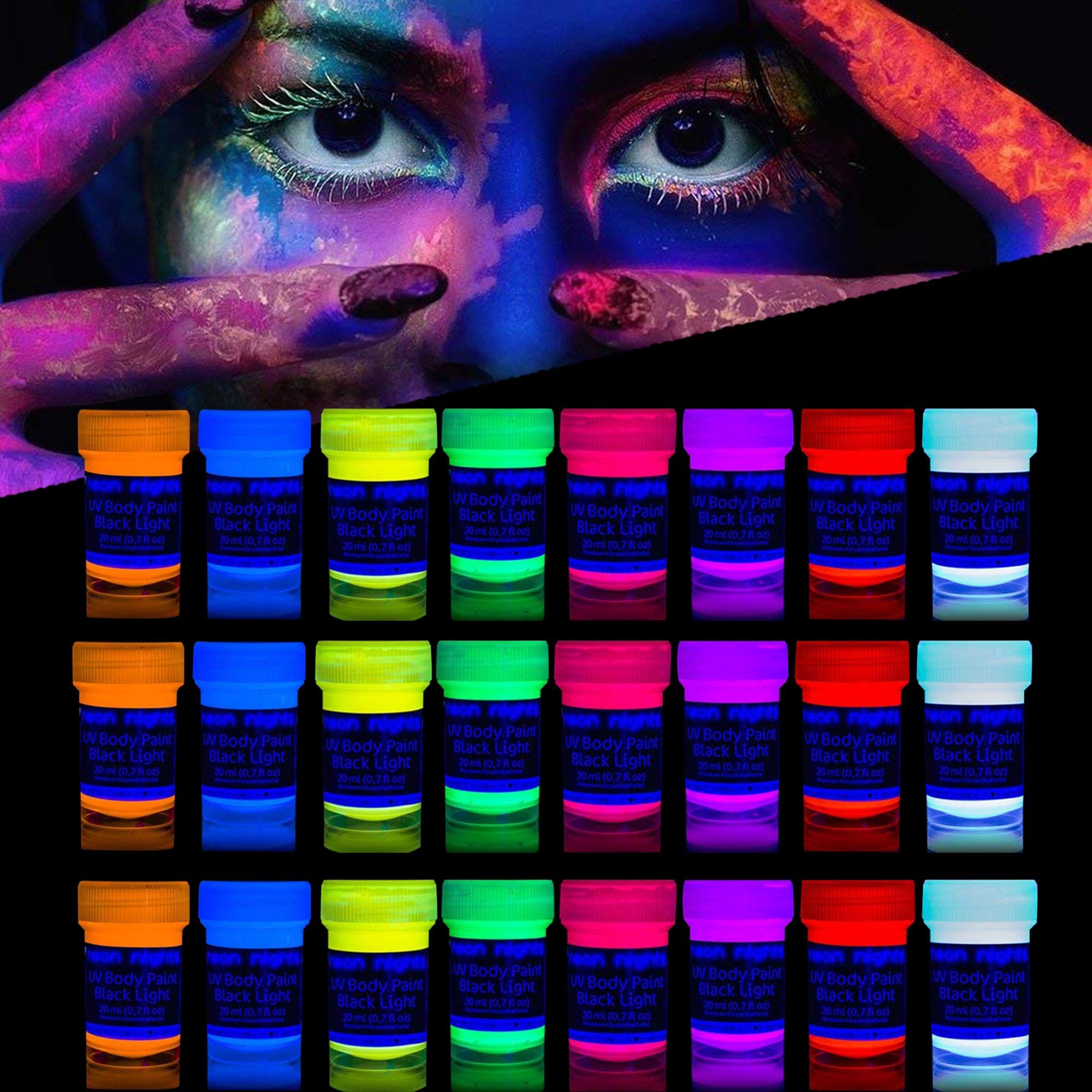 'XXL Set' 24 Cans of Neon Body Paints by neon nights - 16.5 fl oz of Luminescent Body Paints - Long-Lasting Neon Body Paints for Blacklights, UV Lights - Fluorescent Body Paints for Adults by neon nights (Image #1)
