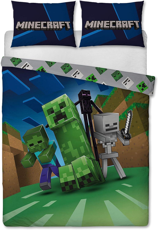 Minecraft pixels Garçons Chambre À Coucher Parure de couette double caractères Blocs de construction