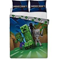 Minecraft Creeps Double Duvet Cover Officially Licensed Reversible Two Sided Creeper Design with Matching Pillowcase…
