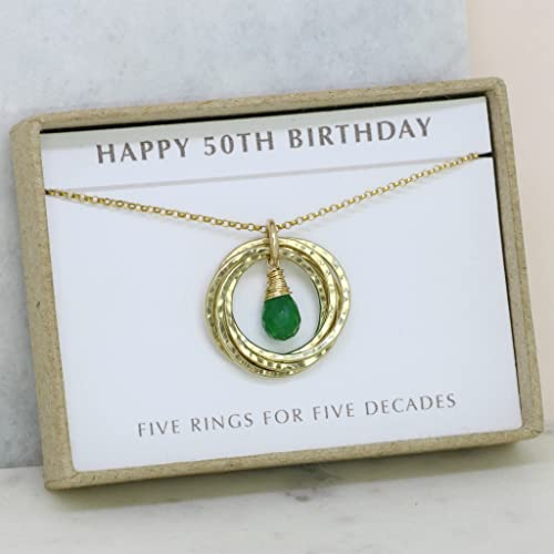 50th Birthday Gift May Birthstone Necklace Emerald For Mom Sister