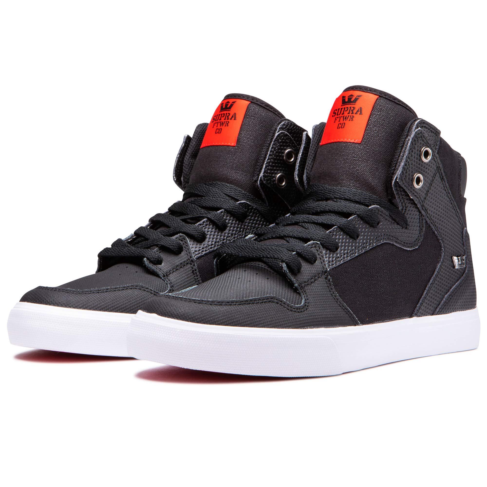 Supra Footwear - Vaider High Top Skate Shoes, Black Tuf-White, 9 M US Women/7.5 M US Men by Supra