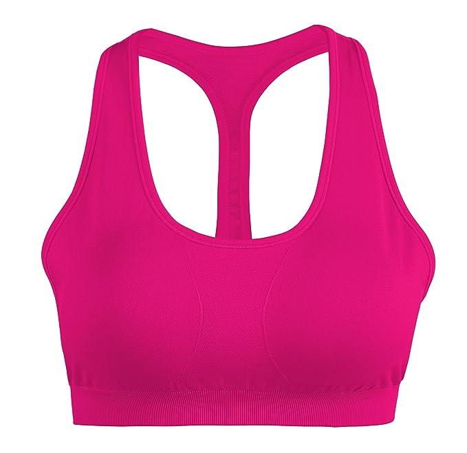 sujetador deportivo cómodo para mujer de color rosa fosforito