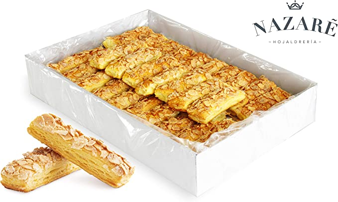 Surtido de Dulces de Hojaldre de Mantequilla con Crujiente de Almendra y Azúcar - Barritas de Almendra - Nazaré Hojaldrería - 60 Unidades 1100 gr.: Amazon.es: Alimentación y bebidas