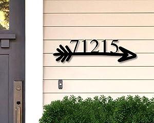 Tamengi Custom Metal Address Sign, Address Plaque, Metal Address Numbers, Address Arrow Sign, Front Porch Metal Sign,Address Signs for House 14inch