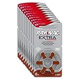 Rayovac Extra Advanced Zink Luft Hörgerätebatterien Braun in der Größe 312 - Frustfrei-Pack mit 60 Batterien für Hörgeräte Hörhilfen Hörverstärker