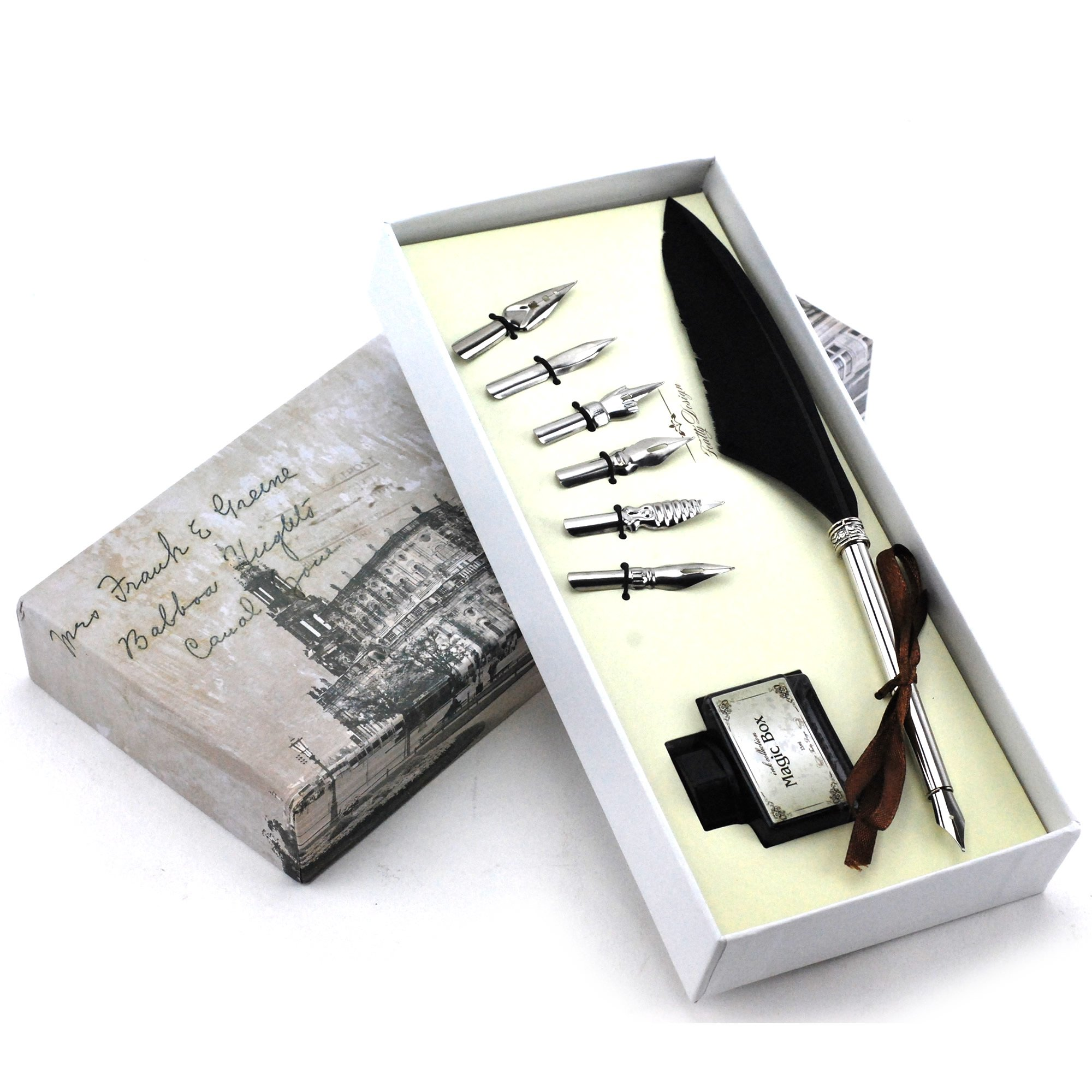 Quill Pen,Luxury Quill Pen and Ink Set (Silver) by UE Fashion (Image #2)